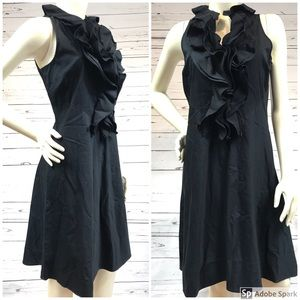 Ralph Lauren Black Ruffle Fit and Flare Dress Sz 8